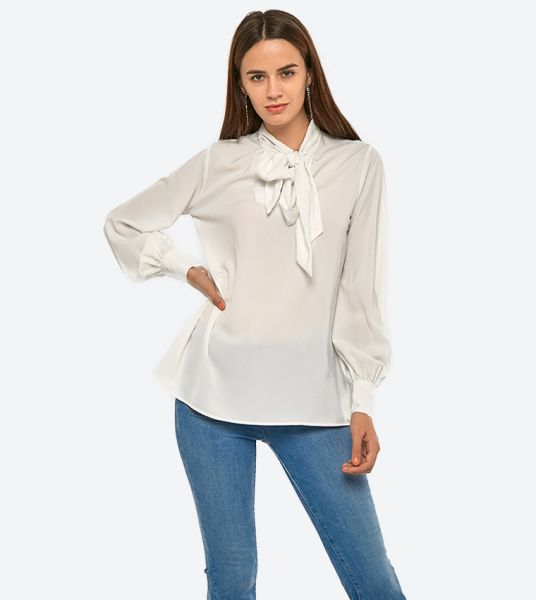 Seden Plain Tie Neck Blouse
