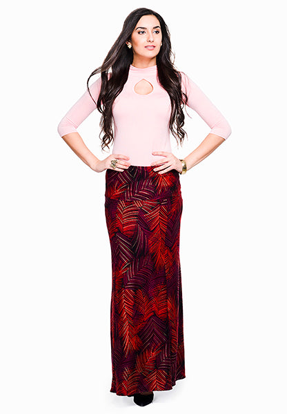 Seden Leaf Printed Viscose Maxi Skirt