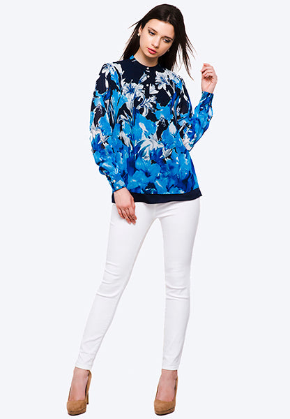 Seden Flower Printed Chiffon Blouse With Long Sleeves