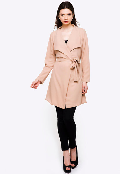 Seden Coat with Ribbon Tie West