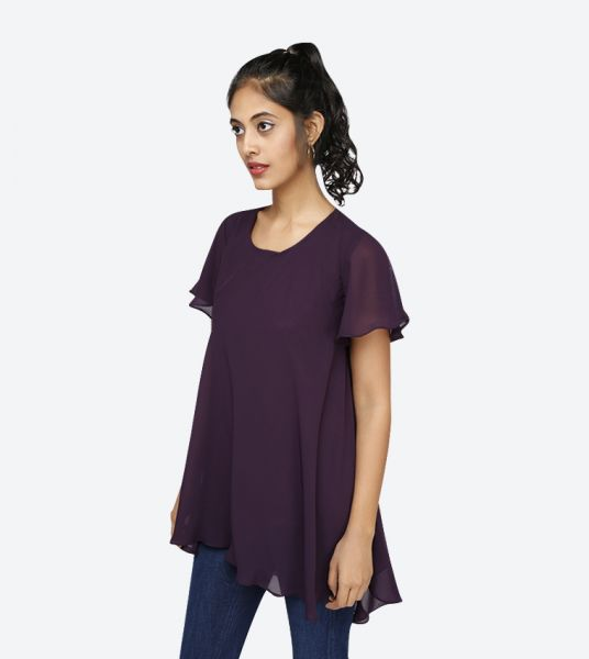 Seden Chiffon Short Sleeve Tunic Top