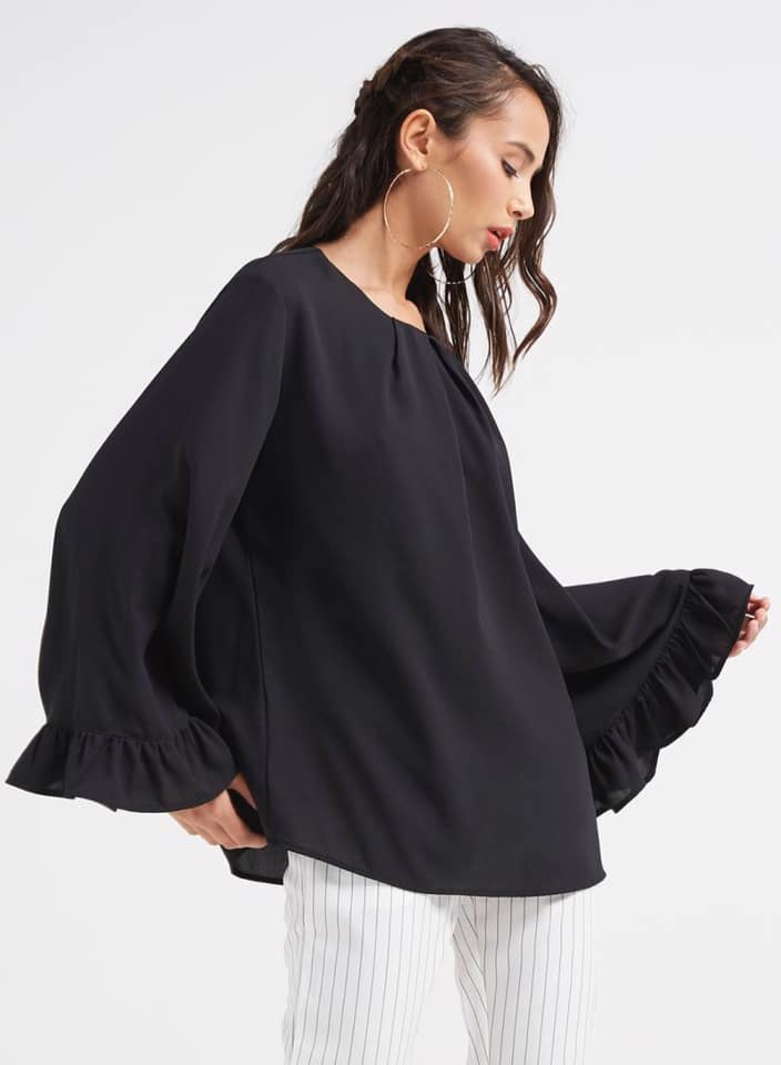Seden Pleated Front & Wide Sleeves Blouse