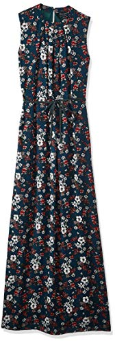 Seden Floral Print Maxi Dress With Pleated Neckline