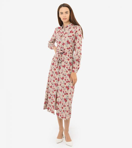 Seden Floral Print Cottong Collared Long Shirt
