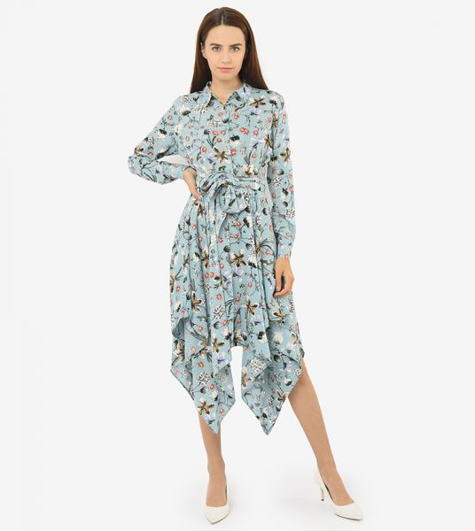 Seden Floral Print Asymmetrical Long Shirt