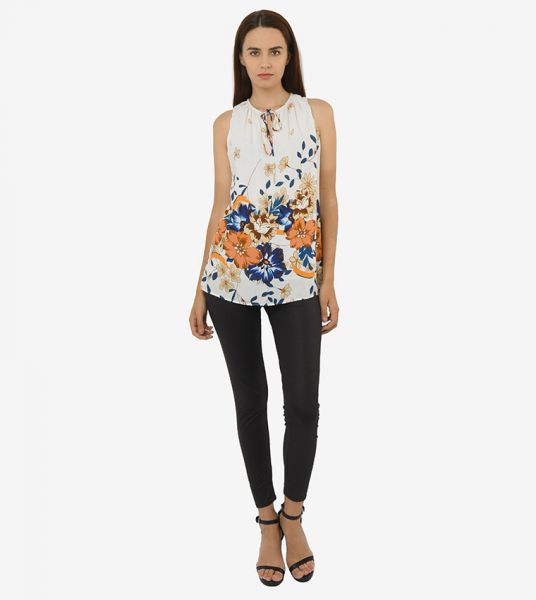Seden Floral Print Cotton Top