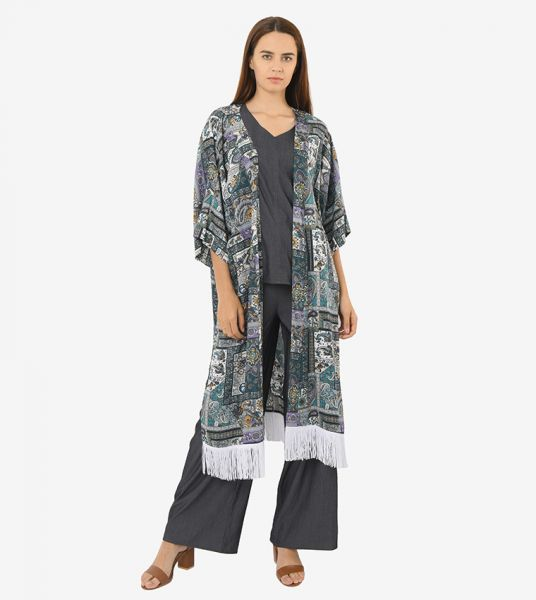 Seden Printed Cotton with Fringe Long Cardigan