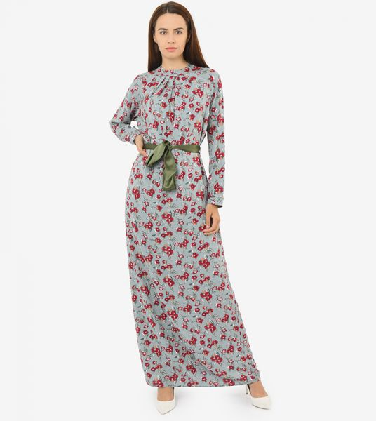 Seden Floral Print Cotton Maxi Dress