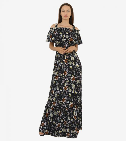 Seden Floral Cotton Off Shoulder Maxi Dress
