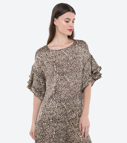 Seden Polyester Animal Print Flared Top