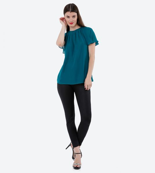 Seden Chiffon Short Puff Sleeves Top