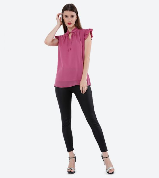 Seden Chiffon Short Flared Sleeves Top