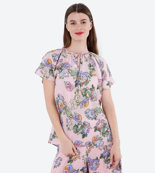 Seden Floral Print Loose Fitting Top
