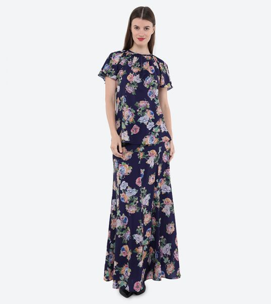 Seden Flower Print Bias Maxi Skirt