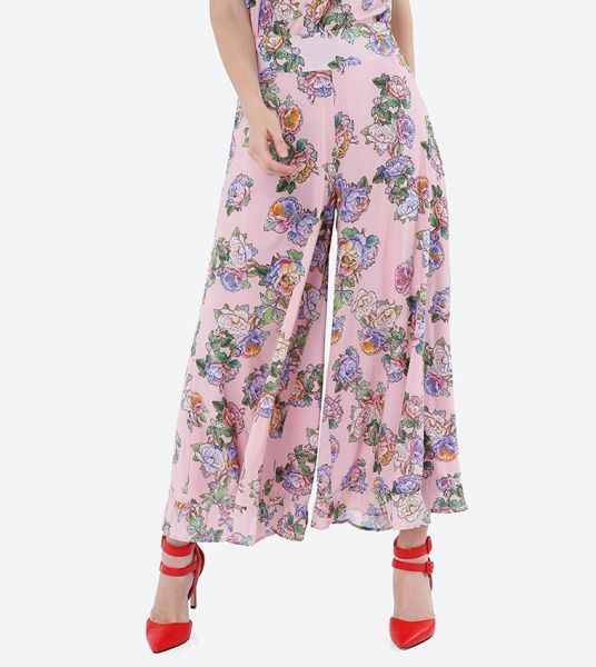 Seden Floral Print Flared Casual Pants