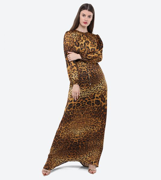 Seden Polyester Tiger Print Maxi Dress