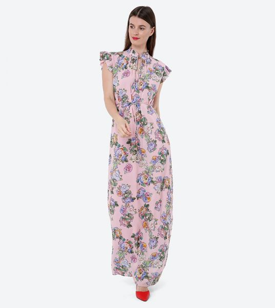 Seden Floral Print Frilled Maxi Dress