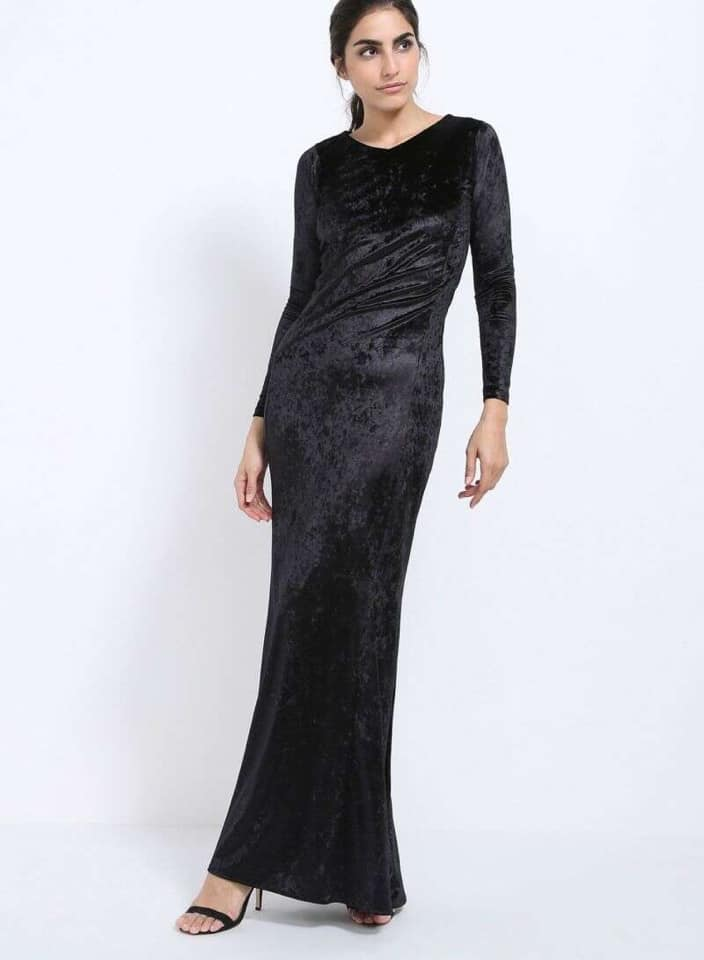 Seden Classic Velvet V-neck Maxi Dress