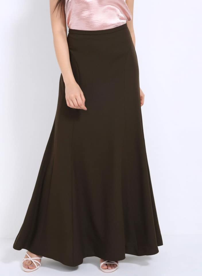 Seden Solid Colour Elegant Maxi Skirt