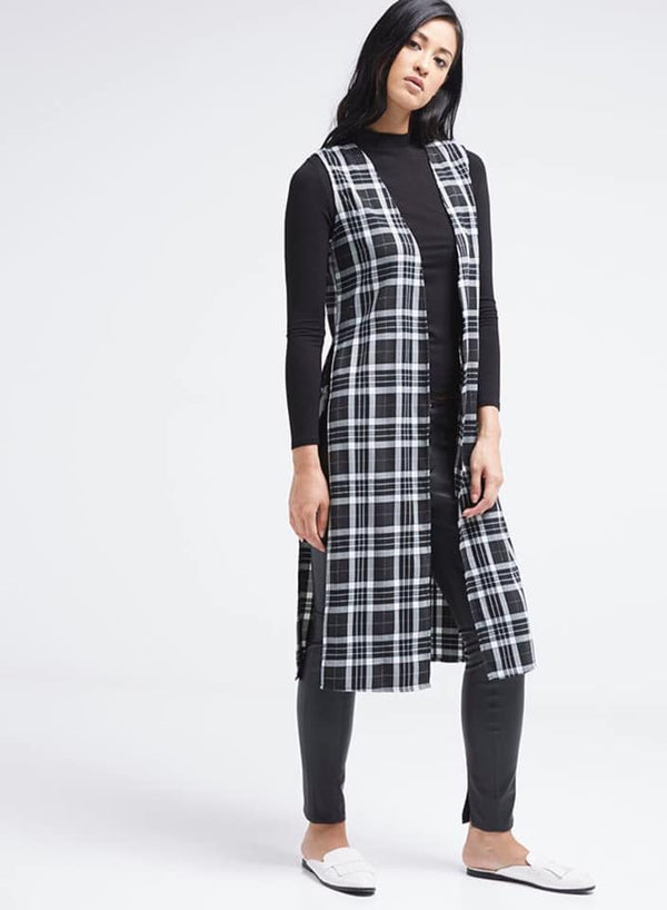 Seden Front Open Checkered Vest Black/White