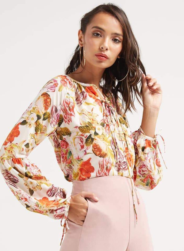 Seden Chiffon Floral Printed Blouse