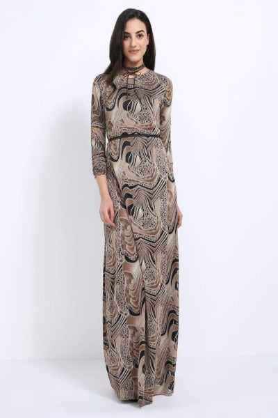 Seden Abstract Printed Maxi Dress Golden