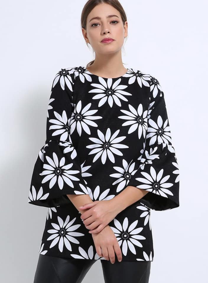 Seden Floral Crepe Blouse with Puff Sleeves