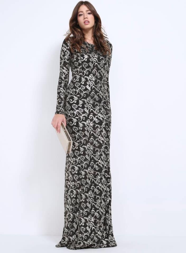Seden Elegant Maxi Dress With Sequins Black/Golden