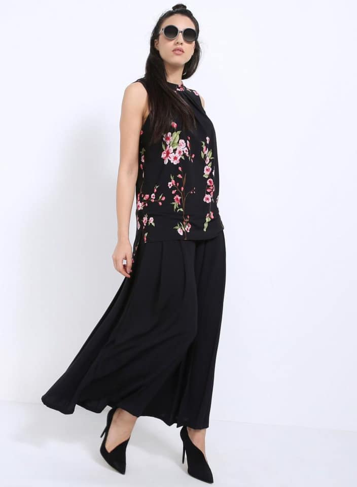 Seden Floral Printed Pleated Sleeveless Top