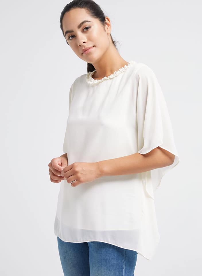 Seden Chiffon Bat Wings Frilled Neck Top