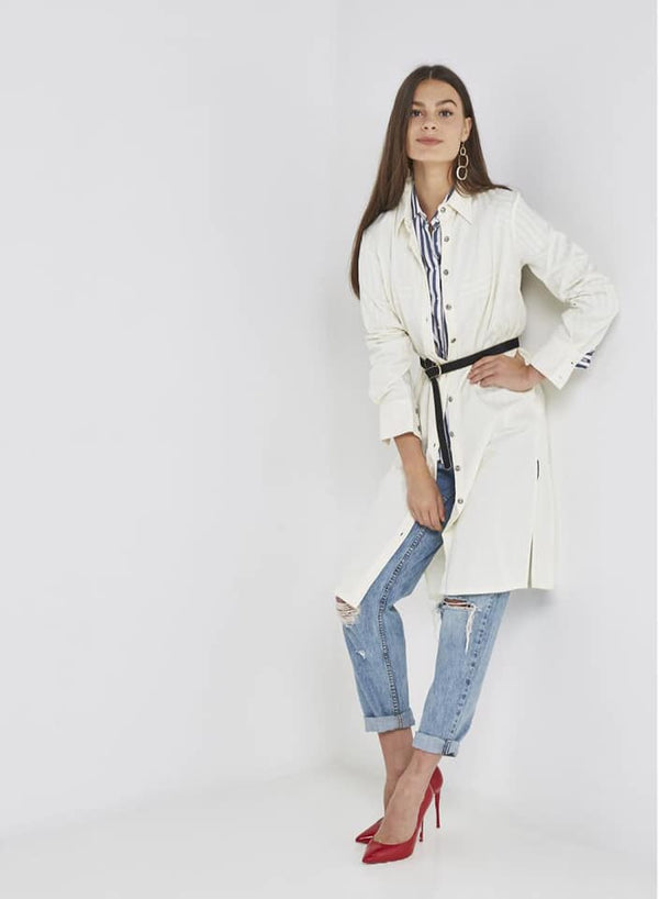 Seden Side Slit Long Collared Neck Shirt