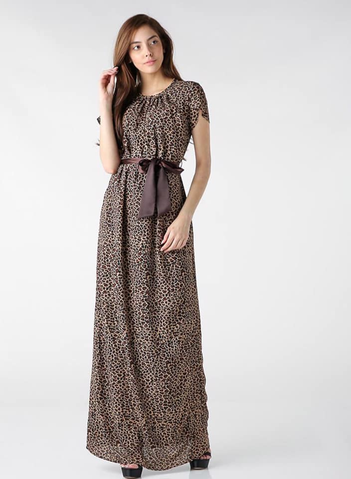 Seden Brown Animal Print Maxi Dress