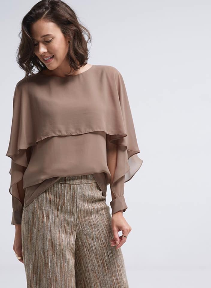Seden Chiffon Layered Frill Long Sleeves Top