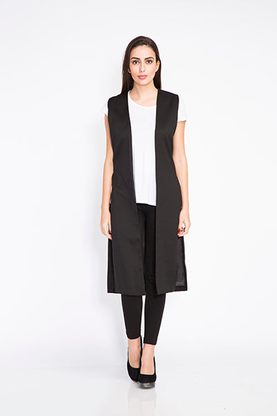 Seden Long Solid Colour Sleeveless Vest