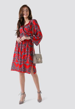 Seden Paisley Print Wrap Short Dress