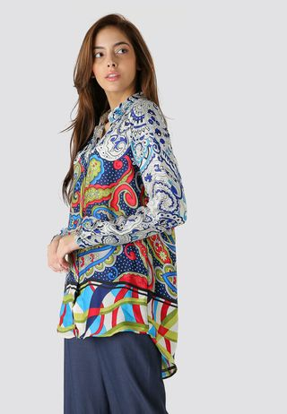 Seden Satin Printed Long Sleeves Shirt