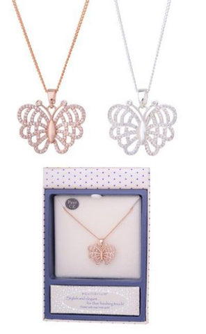 Butterfly Sparkle Equilibrium Necklace (2 Asstd)
