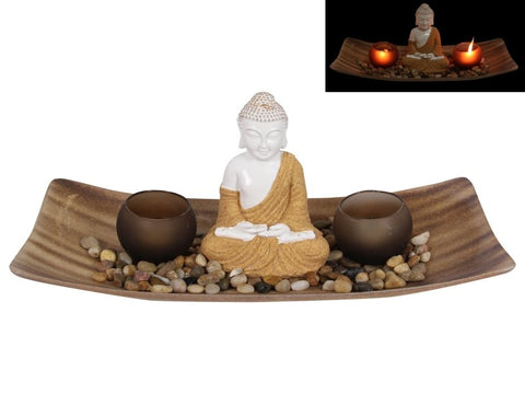 Rulai Buddha & Twin Tealight Candle Holder