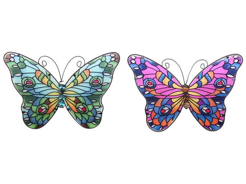 Metal & Glass Mosaic Butterfly Wall Plaque