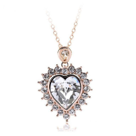 Crystal Ice Heart Gold with Swarovski Elements Clear Necklace
