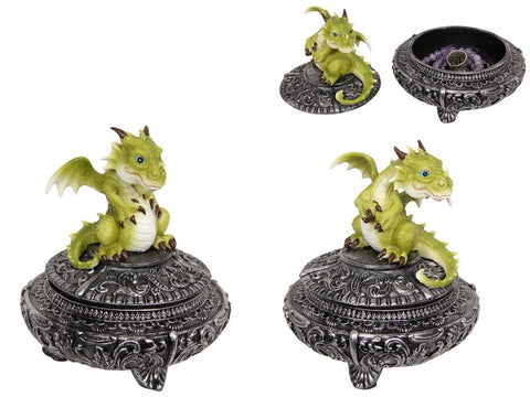 Green Puff Dragon on Chinese Trinket Box