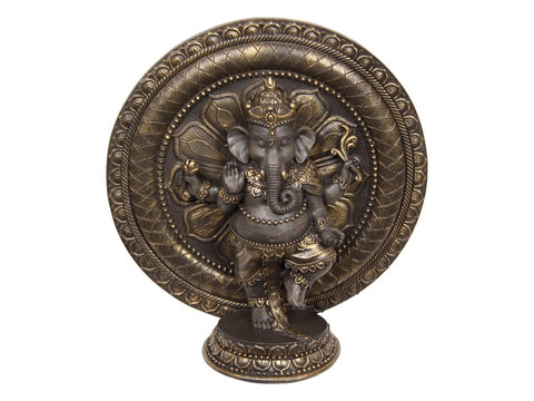 Ganesh Dancing on Lotus Flower Design Ring & Base