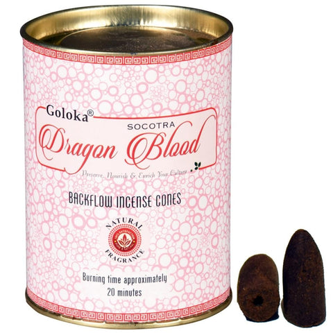 Goloka Dragon Blood Backflow Cones in Tin
