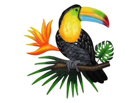 Metal & Glass Toucan Wall Plaque