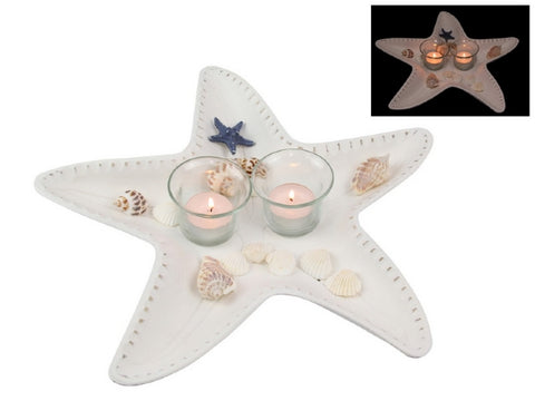 Starfish White Candle Holder with Shells (34cm)