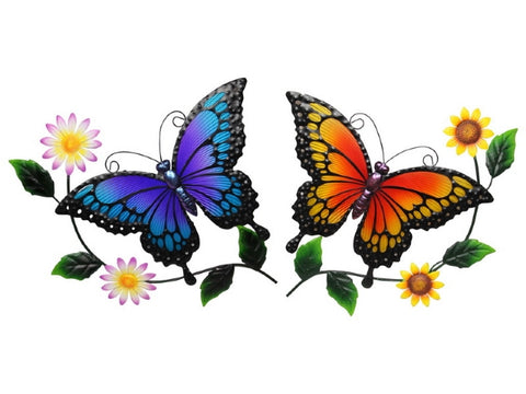 Metal Floral Butterfly Wall Art