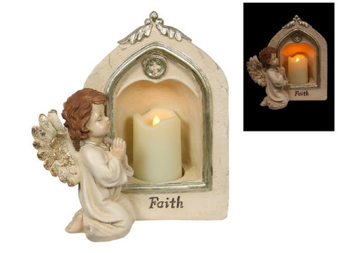Memorial Cherub with Candle Light (23cm)