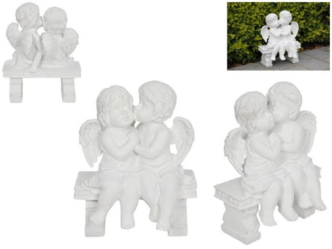 Cherubs Kissing on Bench