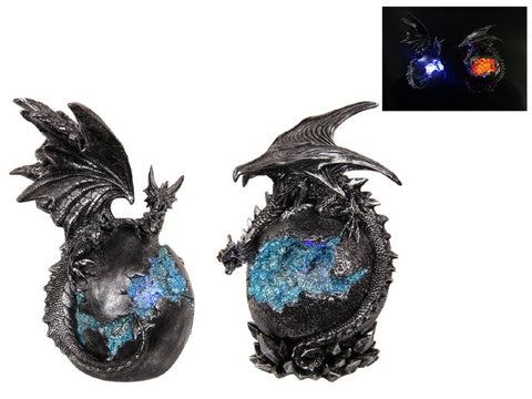 Silver Dragon on Crystal Orb with Light (23cm)