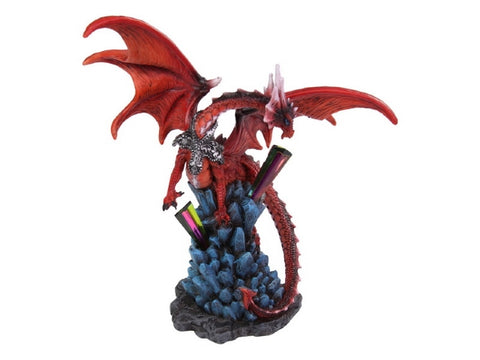 Fire Dragon Guarding Crystal Cave (23cm & 27cm)